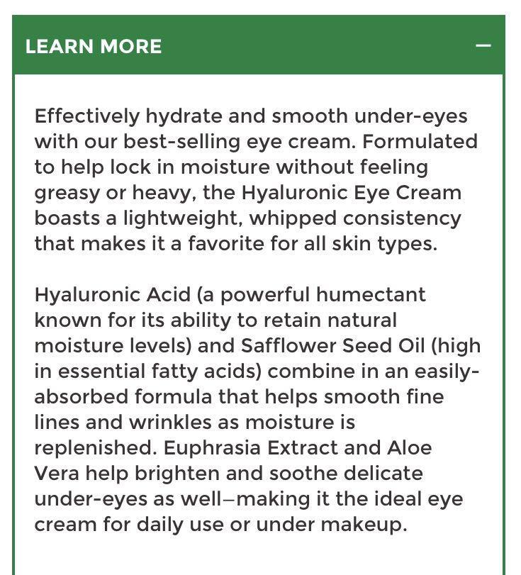 hyaluronic eye cream