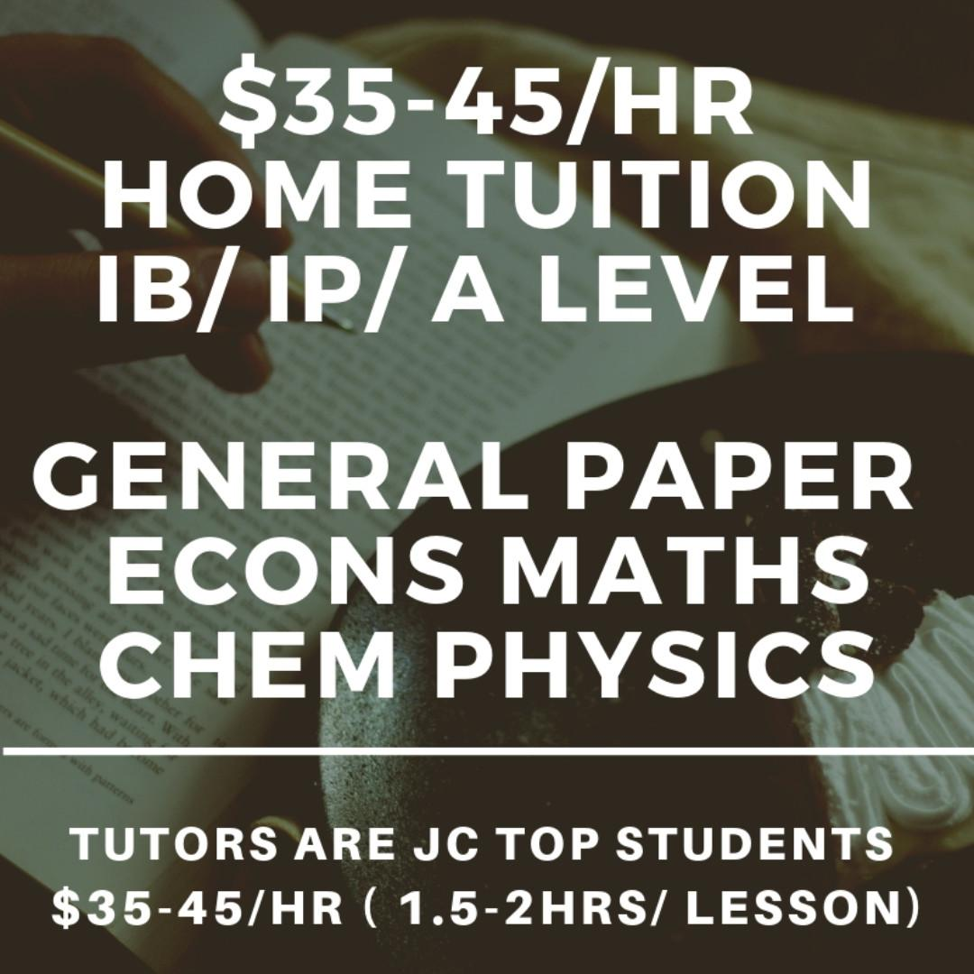 JC Tuition Notes | JC Tutor | A Level Home Tuition | IB JC1 JC2 H1 H2 Physics Chemistry Econs Economics General Paper GP Math Maths Mathematics Chinese English Literature Accounts| Junior College Private Tuition Teacher | Prelim