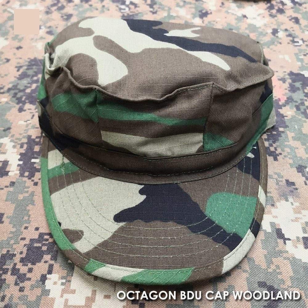 fcdafb41537 Military Tactical Octagon BDU Cap Hat - Woodland