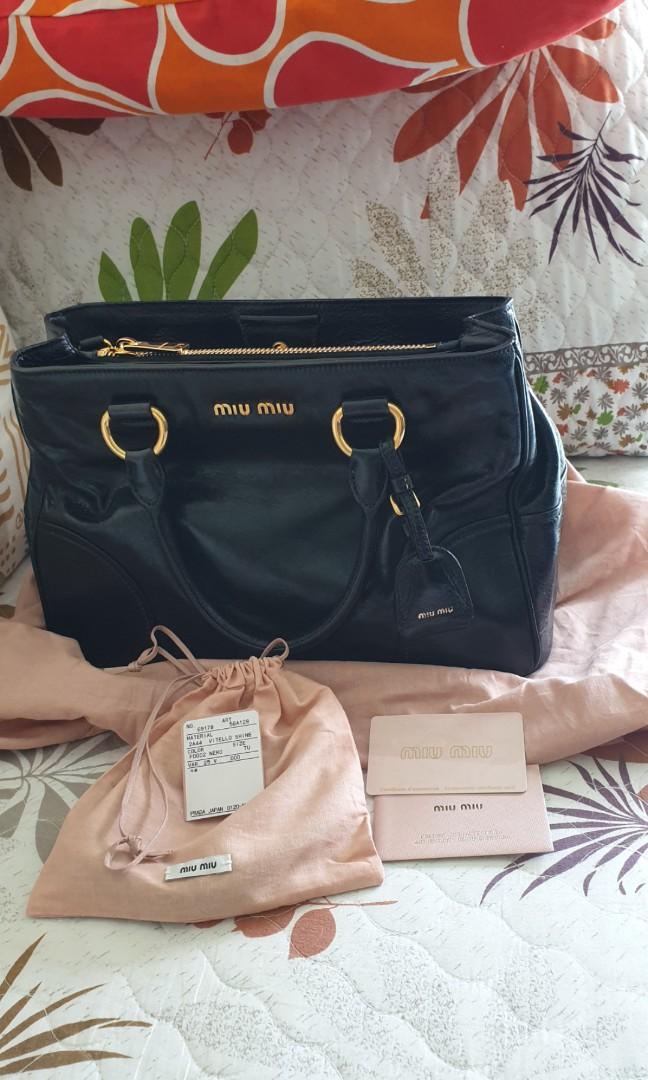 fe7af05bdef3 Miu Miu RN1128 Vitello Shine Convertible Tote Bag Black, Luxury ...