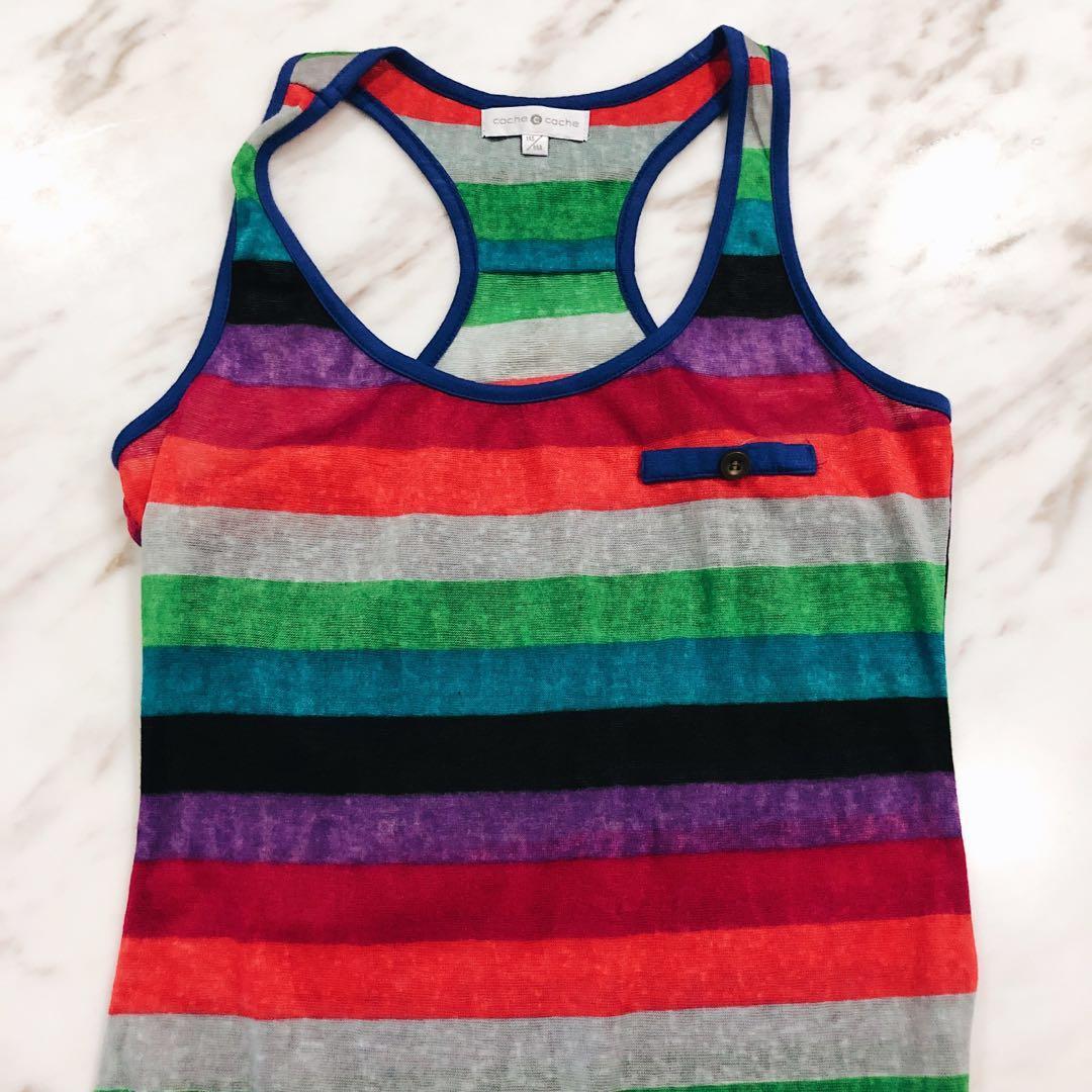 (New) Rainbow Striped Workout Tank