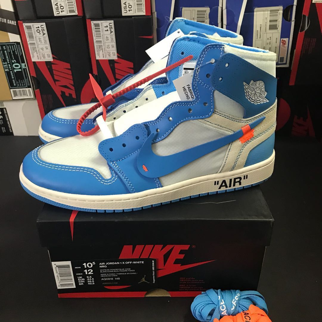 2a5d6073068 Nike Air Jordan 1 Off White UNC US 10.5, Men's Fashion, Footwear ...