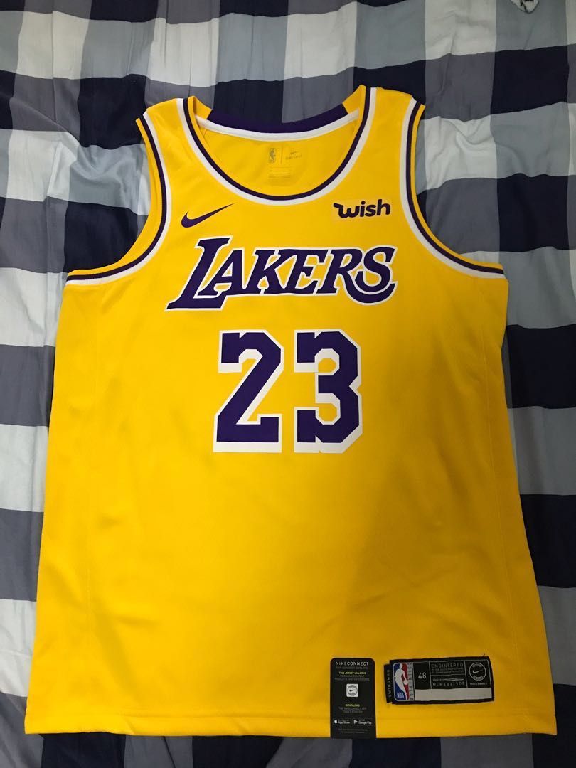 the latest 40cda ce098 Nike LeBron James Lakers Swingman Jersey with Wish Patch(Size 48 Large)