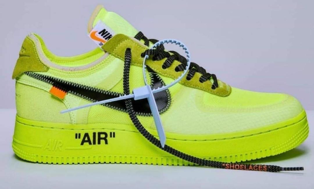taille 40 9446f 187f4 Off-White Nike Air Force 1 in Fluo Yellow, Men's Fashion ...