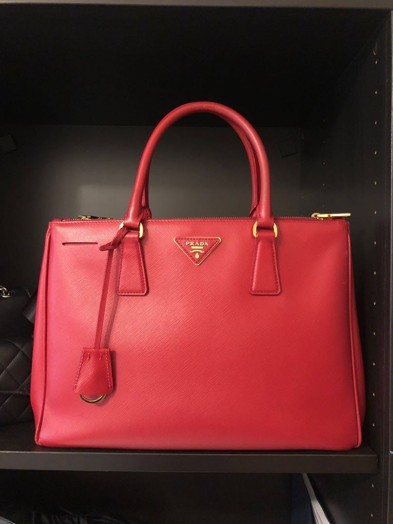 139916e541659b Prada red lux saffiano leather shopping tote, Luxury, Bags & Wallets ...