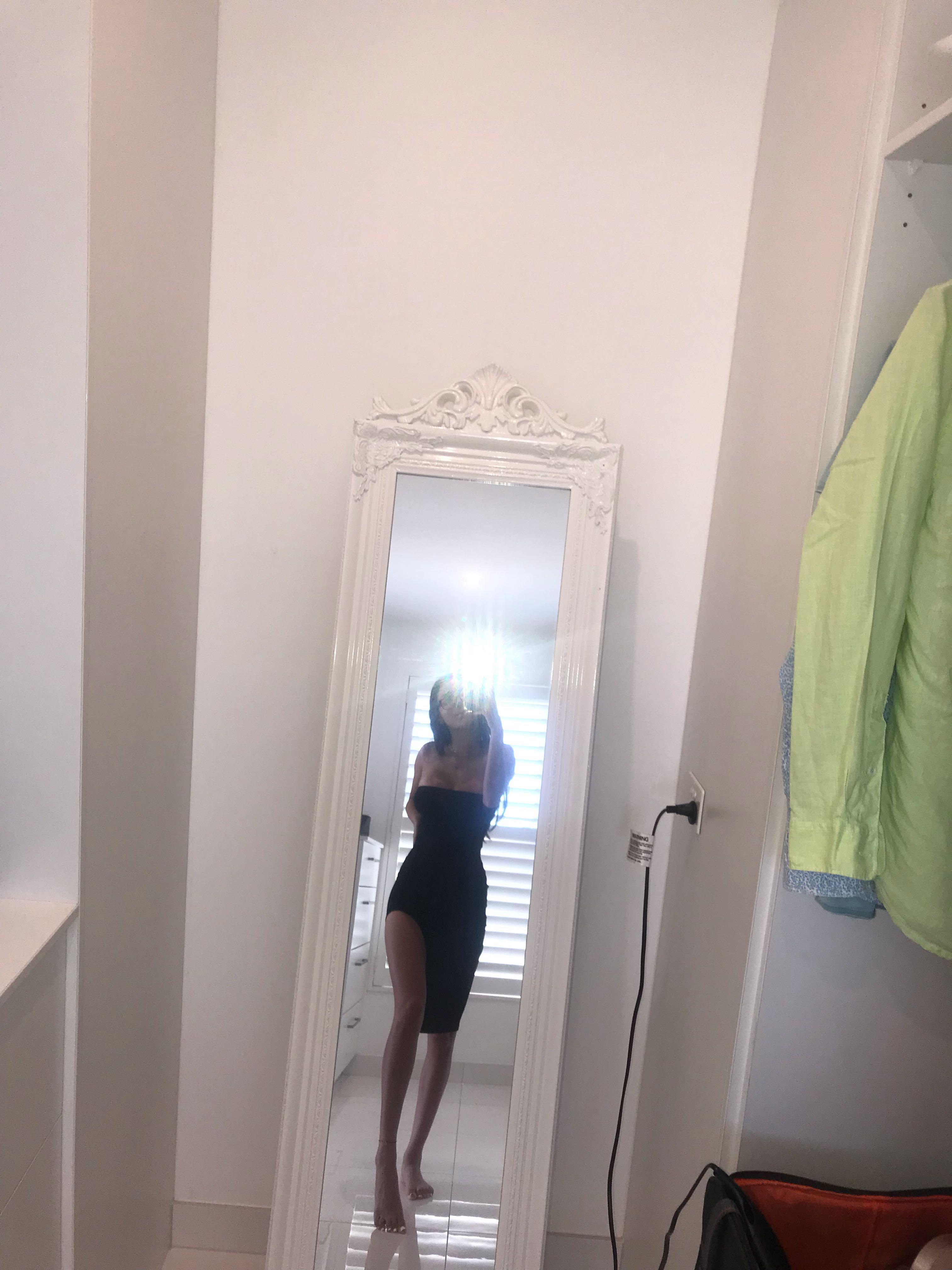 pretty little thing - strapless black dress with knee slit