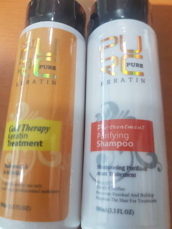 PURC pure keratin pre-treatment shampp and gold therapy keratin