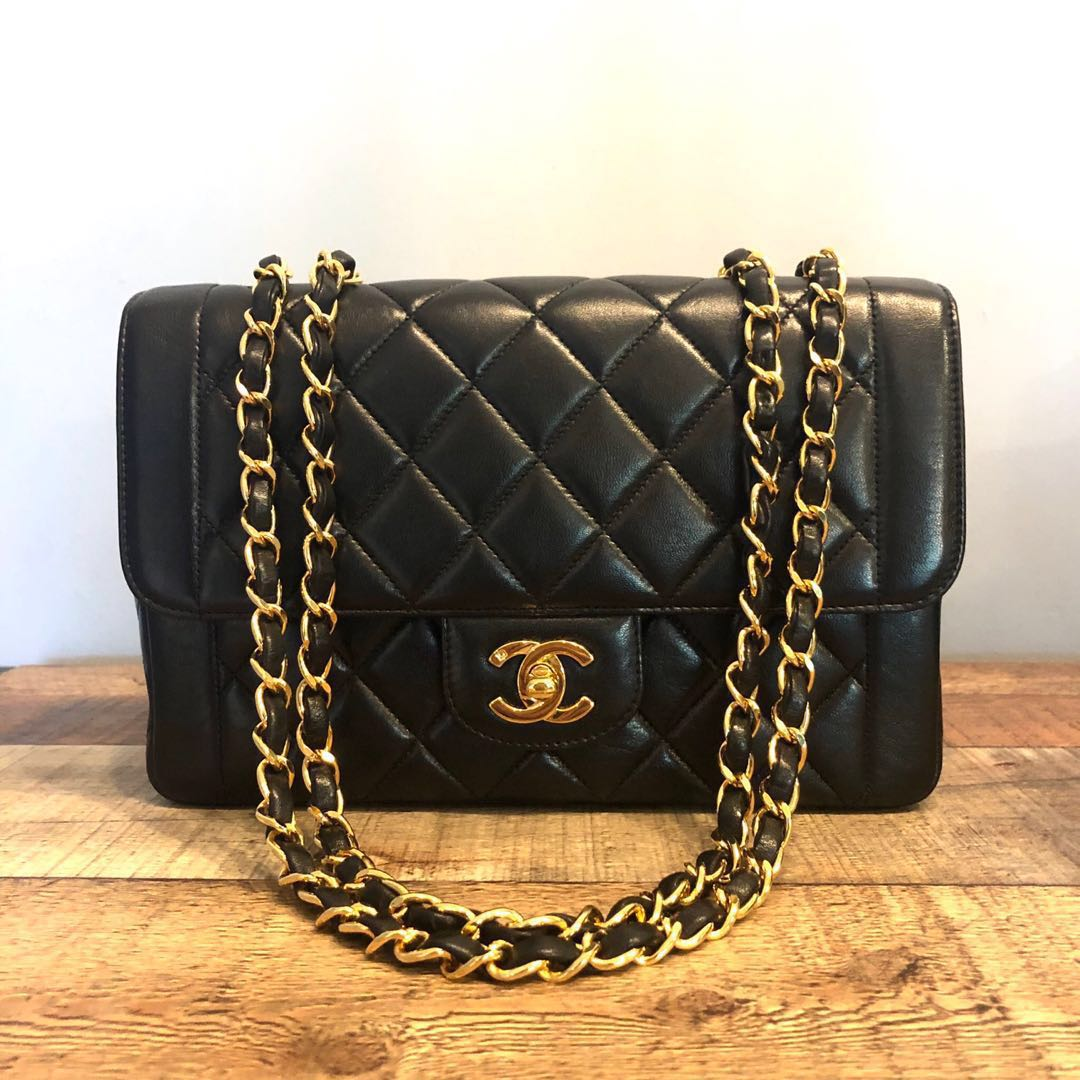 94a2776592ab RESERVED Authentic Chanel Diana Classic Style Single Flap Double Chain bag  w 24k Gold hardware, Luxury, Bags & Wallets, Handbags on Carousell