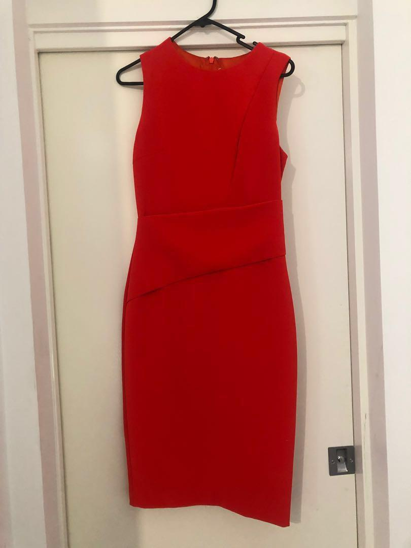 Sheike brand size 8 dress - bright tangerine / orange / red colour