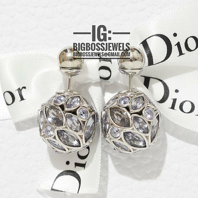 857d39868 Silver Metallic Grey Diamond Like Crystals Ball Earrings Ear Studs ...