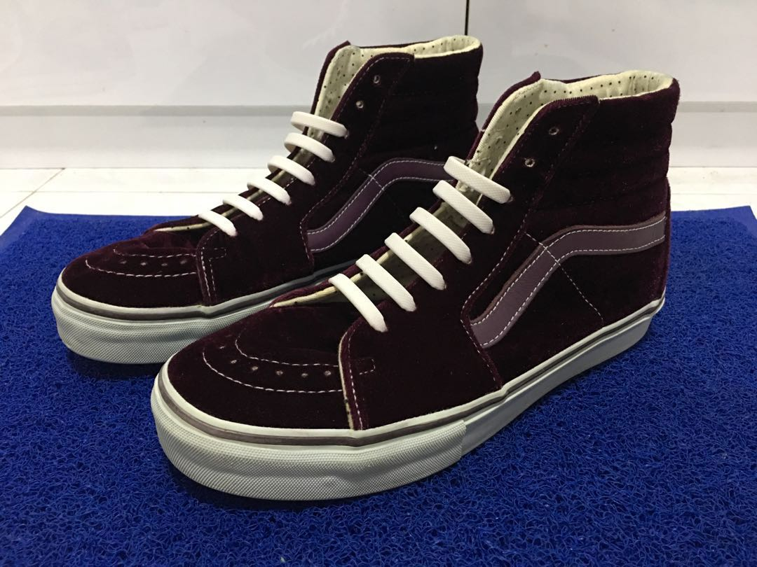 847c5a4ef6 Used   No Box Rare Vans Sk8 Hi Velvet US9