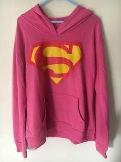 Sweater Jaket Hoodie Pink Superman