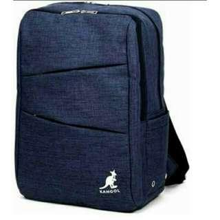 全新英國 KANGOL後背包中性款 大容量旅行背包 寶藍色 仿牛仔布料 超多夾層多可放大筆電