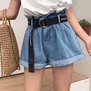 korean loose cuffed denim shorts