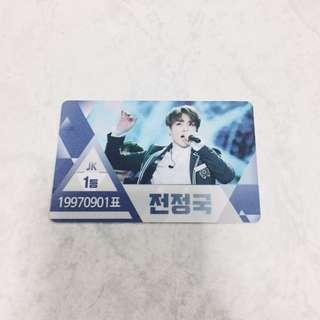 bts jungkook produce 101 boys inspired id name card