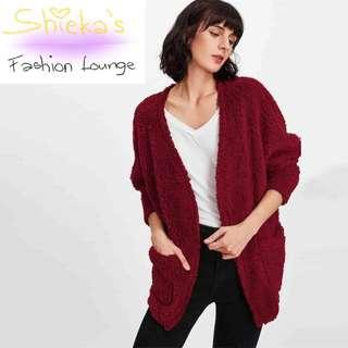 Burgundy Teddy Coat Cardigan with Pockets