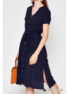 Love and bravery Mayla Buttondown Midi dress Navy