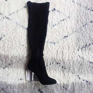 Brand new THIGH HIGH with lucite heel