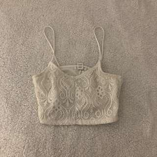 Short White Lace Crop top (Lightly used)