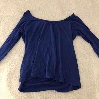 Long sleeve loose fitting blue shirt