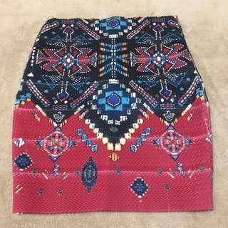 Aztec Pencil-Bandage Skirt