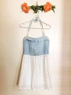 Blue and White Halter Tube Dress