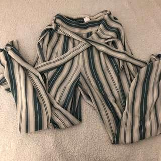 Striped white/teal belted loose fitting pants with cinched waist