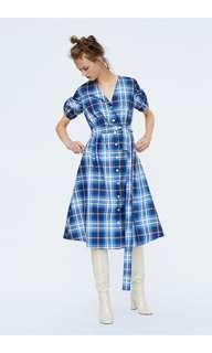 全新ZARA藍色大格紋風衣洋裝XS