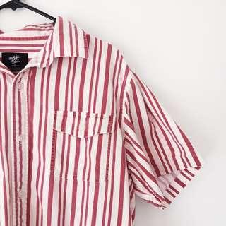 Red Pin Striped Button Down Shirt