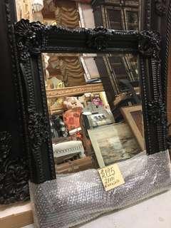 """27"""" x 31"""" Black Gold Frame Mirror Antique Vintage Style Ornate carved wood"""
