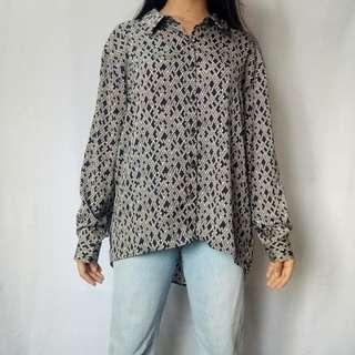 F21 Large Diamond-printed Button-down Shirt