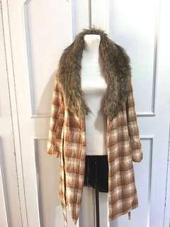 Forever 21 Fur Trench Coat Wool XS on tag