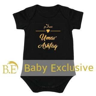 Baby Romper Nama Baby Gred A+ Hitam @Shopee