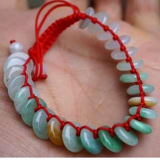 3 Color 100% Natural Untreated Grade A Icy Jade Jadeite Doughnut Bracelet Nice