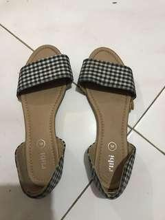 Checkered doll shoes