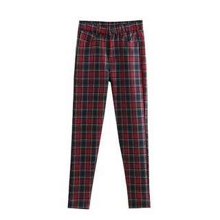 Red Plaid Skinny Leg Trousers