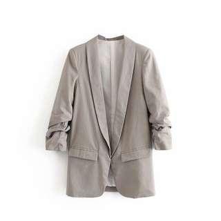 Grey Laminated Sleeve Blazer