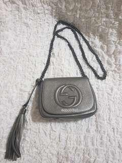 GUCCI DISCO FLAP CROSSBODY BAG CHAIN STRAP SOHO LEATHER IN PEWTER