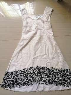 White Dress with Black floral design