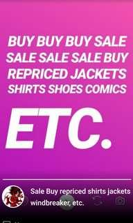 REPRICED SALE JACKETS SHIRTS WINDBREAKER SHOES COMICS