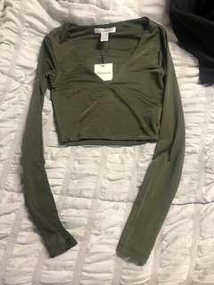 BNWT Olive Green Crop Top