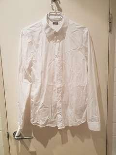 Basic white button up dress shirt