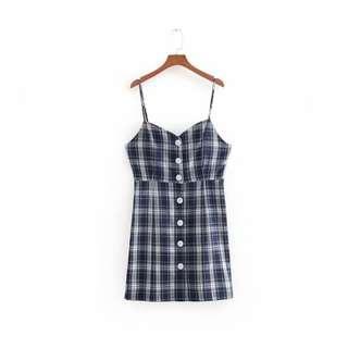 Brand New Plaid Print Mini Dress