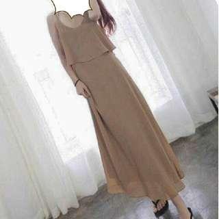 taupe chiffon maxi dress
