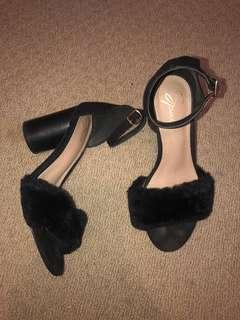 Black fluffy heels