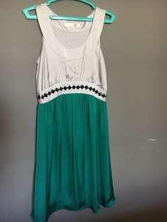 Green & gray dress