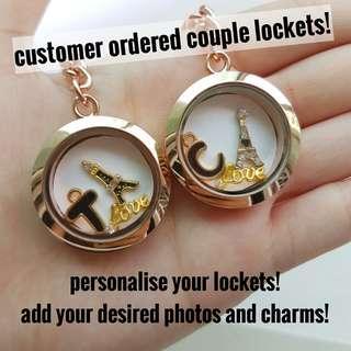 Personalised vday floating charm lockets