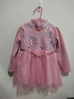 🚚 不倒絨中國風女童洋裝-3Y-拜年婚禮都試用