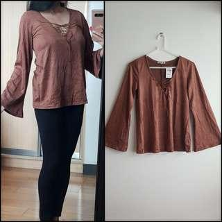 CHARLOTTE RUSSE - Suede Brown Long Sleeves