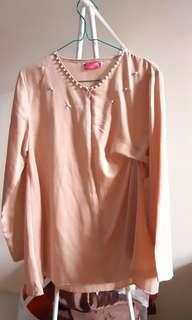 Pearl Blouse Pink Satin Kondangan Outfit SALE Busui Friendly